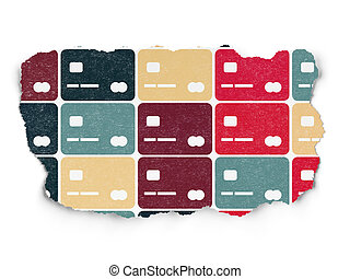 Money concept: Credit Card icons on Torn Paper background