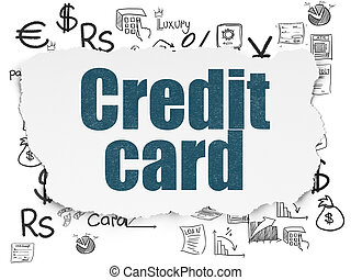 Money concept: Credit Card on Torn Paper background