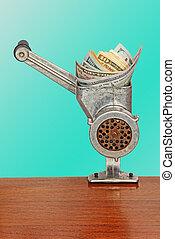 Dollar banknotes in meat grinder on azure background.