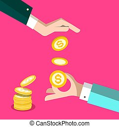 Money Concept - Dollar Coins with Hands Vector Design