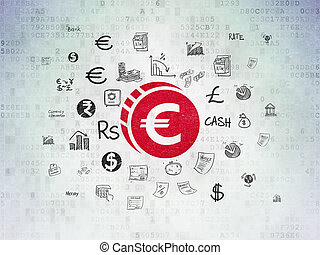 Money concept: Euro Coin on Digital Data Paper background