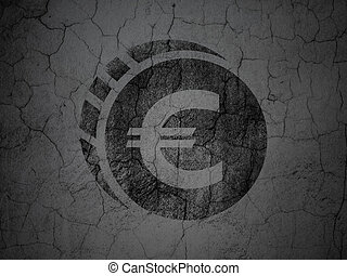 Money concept: Euro Coin on grunge wall background