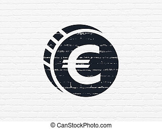 Money concept: Euro Coin on wall background