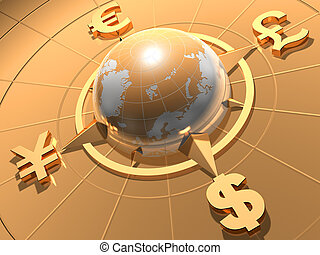 Money concept - Globe with symbols of Dollar, Euro, Pound,...