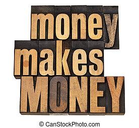 money concept in wood type