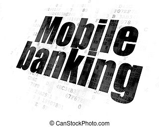 Money concept: Mobile Banking on Digital background