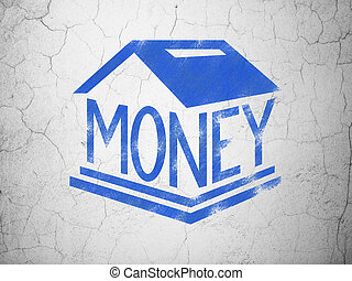 Money concept: Blue Money Box on textured concrete wall background