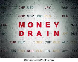 Money concept: Money Drain on Digital Data Paper background