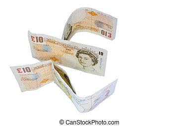 english ten pound notes define the pound note symbol, denoting money, currency, finance, debt, banking, etc.