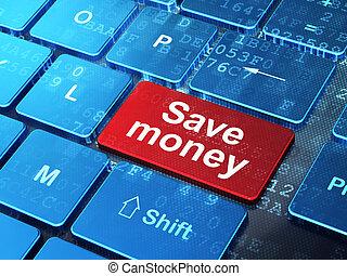 Money concept: Save Money on computer keyboard background