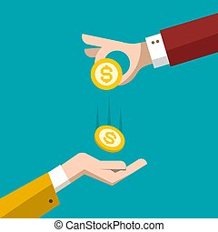 Money Concept. Vector Flat Design Illustration. Hand with Dollar Coin. Loan Symbol. Business Icon.