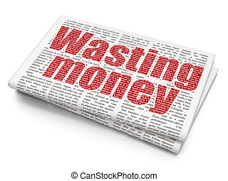 Money concept: Wasting Money on Newspaper background - Money...