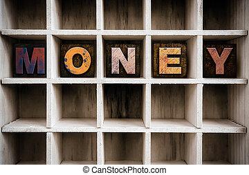 Money Concept Wooden Letterpress Type in Drawer