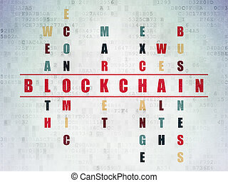 Money concept: word Blockchain in Crossword Puzzle