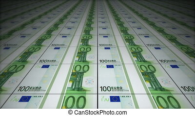 Money conveyor, euro, loop-able 3d animation