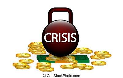 money crisis kettlebell - Money crisis kettlebell, vector ...