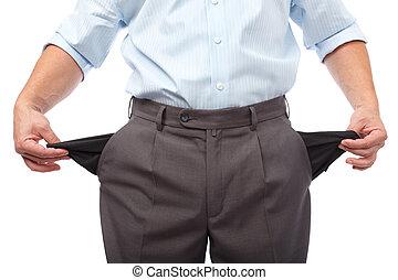 Money crisis - Businessman turning his empty pockets inside...