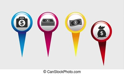 money currency with gps pins icons animation design