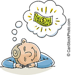 Money Daydream - A cartoon businessman naps and dreams about...