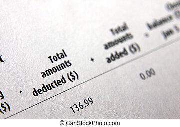 Money Deductions - A balance sheet from a financial...