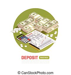 Money Deposit Isometric Background