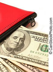 bank cash deposit in a red money bag, on white