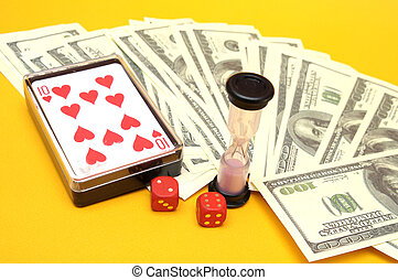 Money, dice and cards
