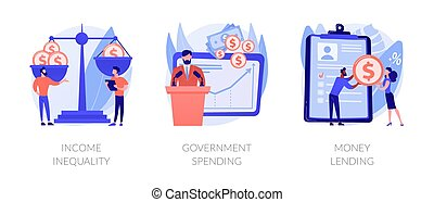 Money distribution abstract concept vector illustrations.