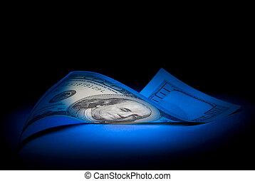 Hundred dollars. Dark blue art illumination. Black background.