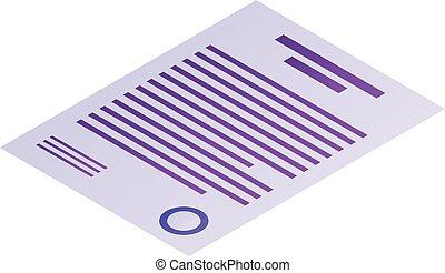 Money document icon, isometric style
