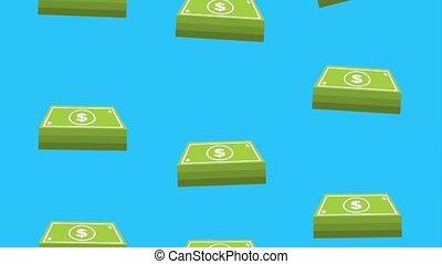 money dollar banknote falling background animation hd