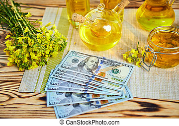 Money Dollar banknote with blossoming cultivated canola field and rapeseed oil in background