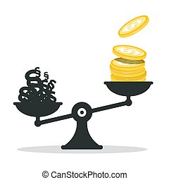 Money - Dollar Coins and Paragraphs on Scales. Vector...