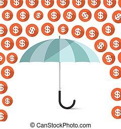 Money - Dollar Coins Rain and Umbrella