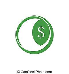 money dollar geometric leaf logo vector