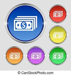 money, dollar icon sign. Round symbol on bright colourful buttons. Vector