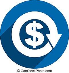 Money dollar sign with arrow vector simple single color...