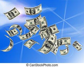 money dollars - 3d money falling in the white background