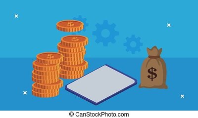 money dollars and tablet animation