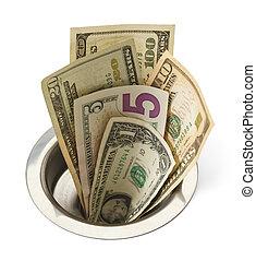 Money Down Drain - Cash Money Going Down Sink Drain Isolated...