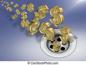 Money down the drain - Golden dollar symbols going down a...