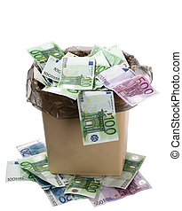 Money euro in bin. Concept of currency collapse.