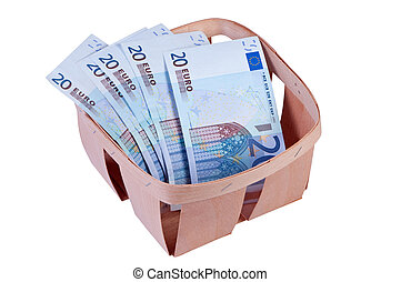 Money euro in box isolated.