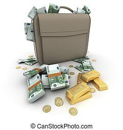 Money Euro on a briefcase