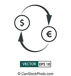 Money exchage icon vector. Line style. Isolated on white. Vector Illustration EPS 10