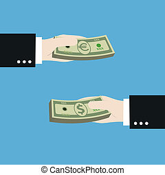money exchange between US dollar to euro,illustration,vector