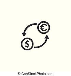 money exchange dollar euro icon