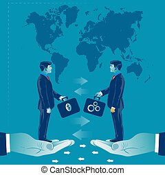 Money exchange for good ideas. Business concept vector illustration