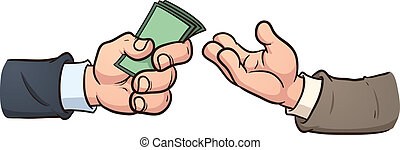 Money exchange - Hand giving money. Vector clip art...