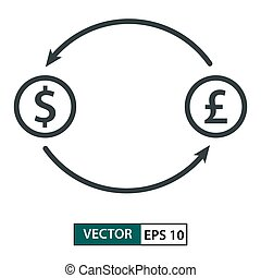 Money exchange. Line style. Isolated on white. Vector Illustration EPS 10